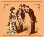 Victorian Etiquette - image of man tipping hat as he greats a woman